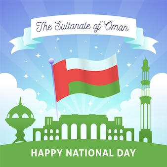 Flat national day of oman with sultanate