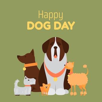 Illustrazione piatta del giorno del cane nazionale Vettore gratuito