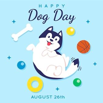 Flat national dog day illustration