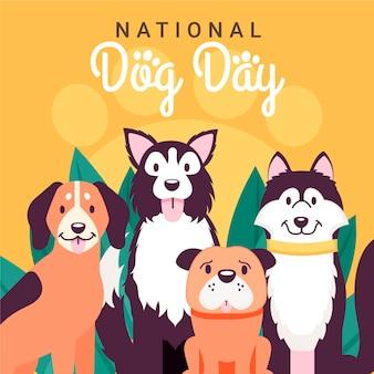 Illustrazione piatta del giorno del cane nazionale