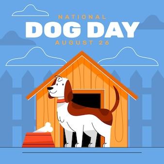 フラット全国犬の日のイラスト