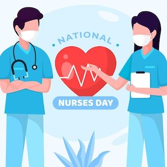 Illustrazione di giorno piatto nazionale degli infermieri