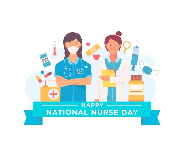 フラット全国看護師の日のイラスト