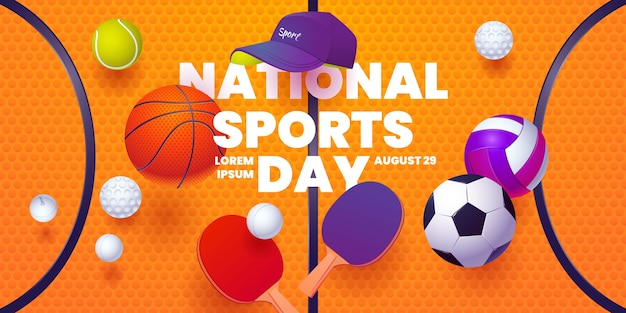 평면 국가 스포츠의 날 가로 배너 서식 파일