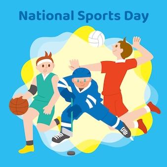 Плоская иллюстрация дня национального спорта Бесплатные векторы