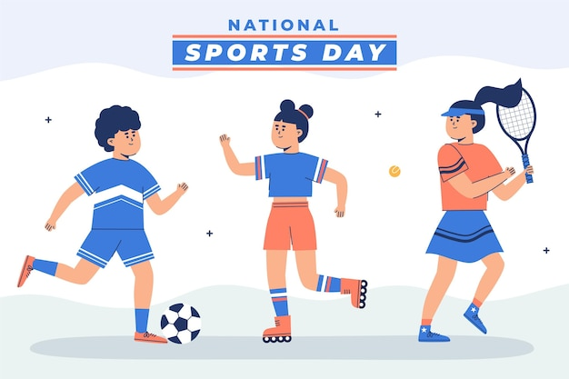 Flat national sports day illustration