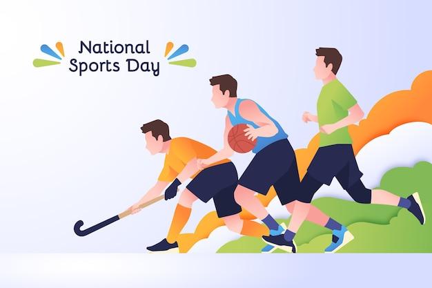 フラットインドネシア国民体育の日のイラスト