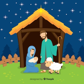 Flat nativity background