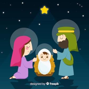 Flat nativity background