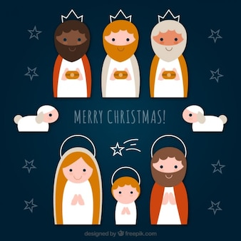 Flat nativity icons