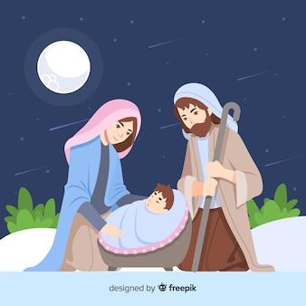 Flat nativity night background