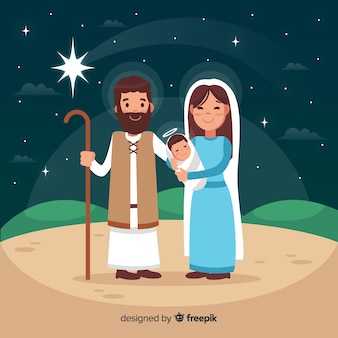 Flat nativity scene background