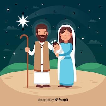 Flat nativity scene background