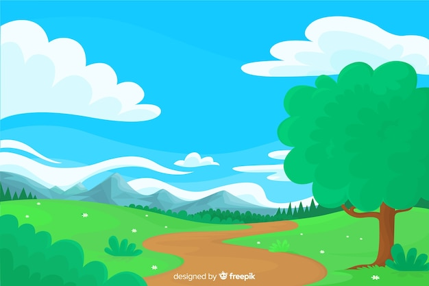 Flat natural background with landscape