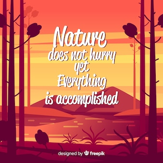 Flat nature background with quote