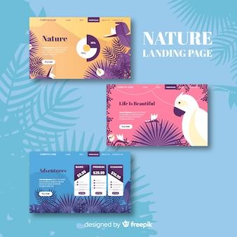 Flat nature landing page set