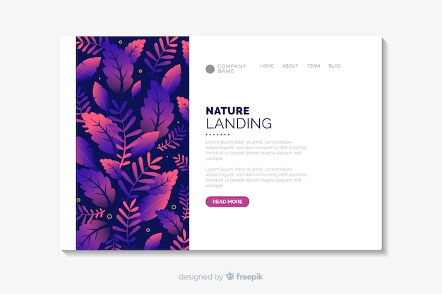 Flat nature landing page template