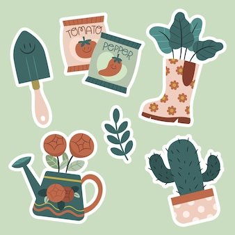 Flat nature stickers collection