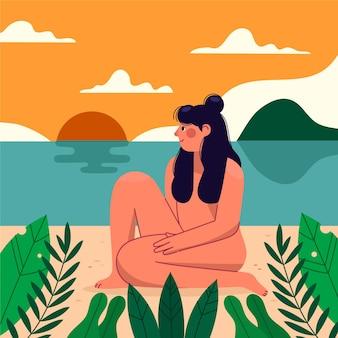 Flat naturism concept illustrated