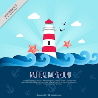 Flat nautical background with anchors and lighthouse