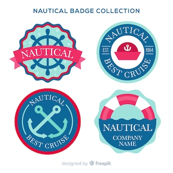 Flat nautical badge collection