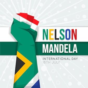 Flat nelson mandela international day illustration