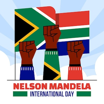 Flat nelson mandela international day illustration