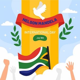 Плоская иллюстрация международного дня нельсона манделы