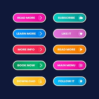 Flat neon call to action button pack