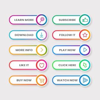 Набор плоских неоновых кнопок с призывом к действию