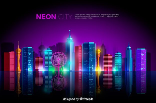 Flat neon city background