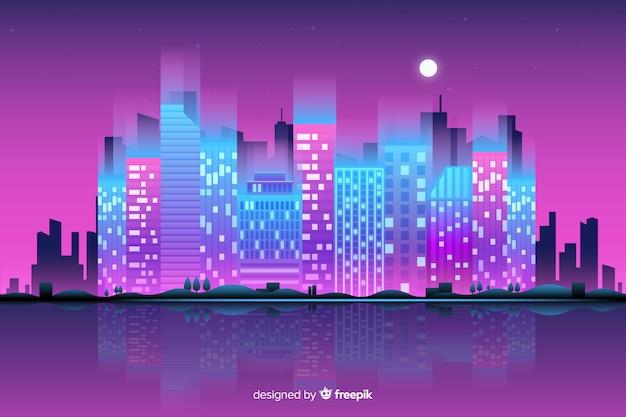 Flat neon city background