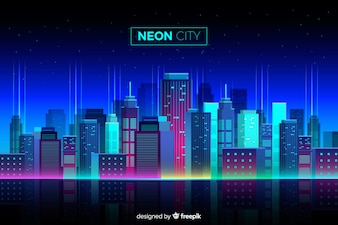 Flat Neon Cityscape Background