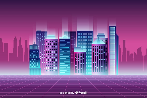 Flat neon cityscape background