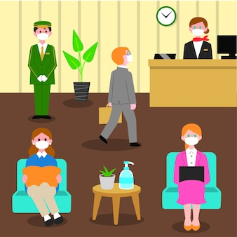 Flat new normal in hotels illustration