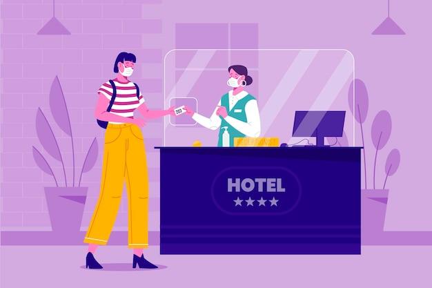 ホテルのイラストでフラットな新しい通常