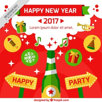 Flat new year 2017 background