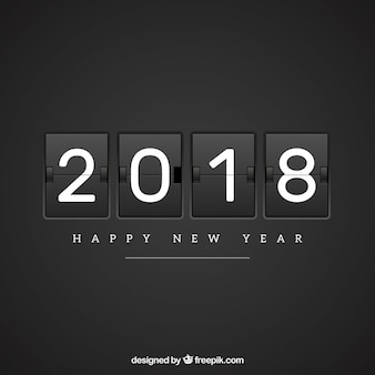 Flat new year 2018 background in black