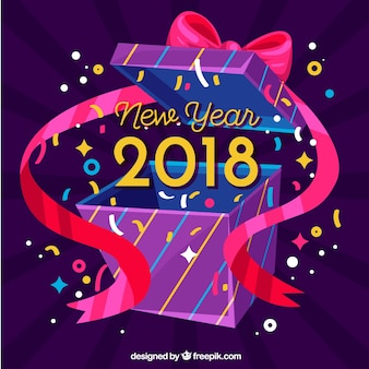 Flat new year 2018 background with big gift box