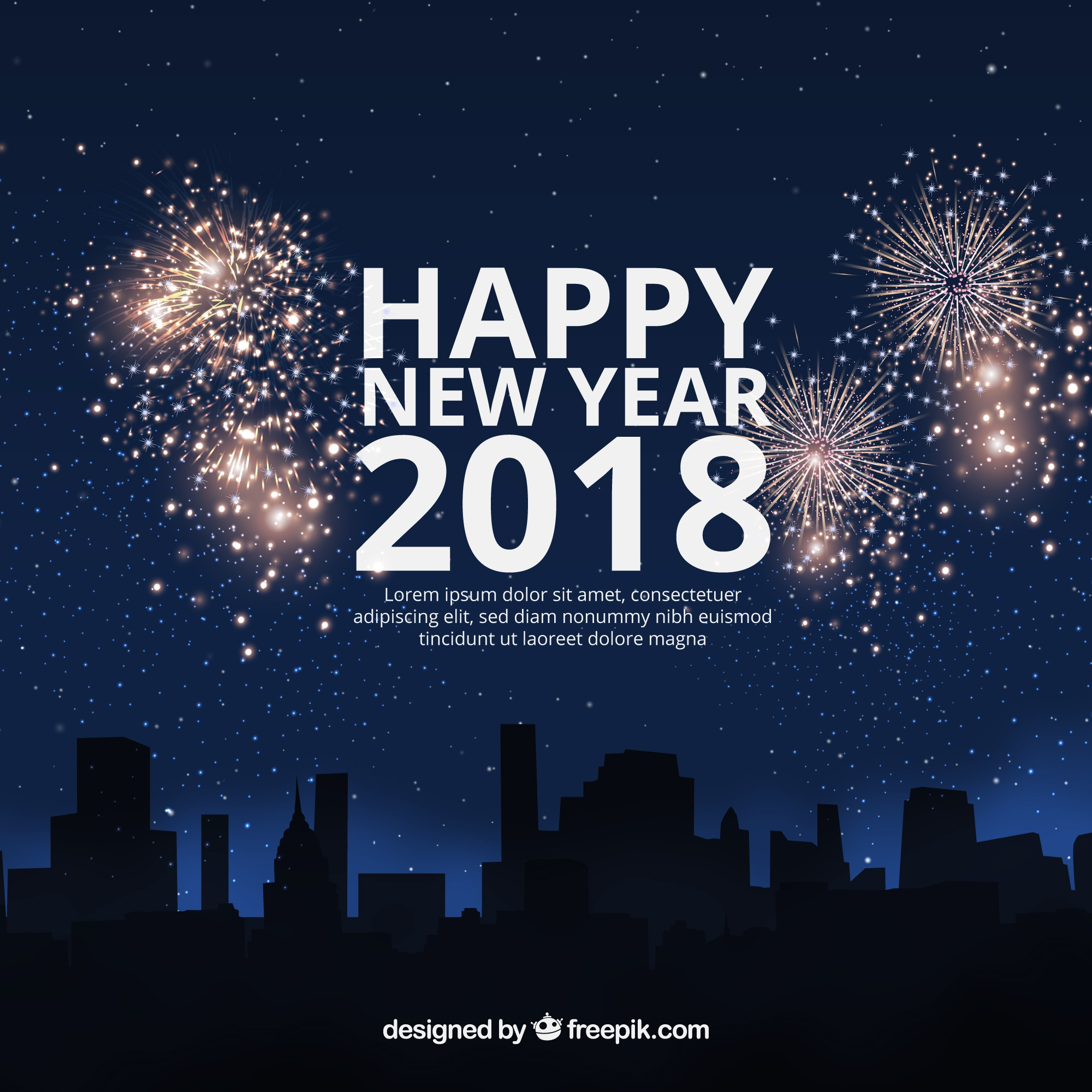 Flat new year 2018 background with fireworks