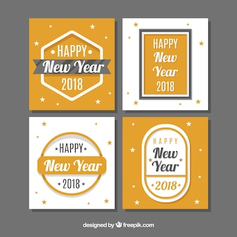 Flat new year 2018 cards with little stars