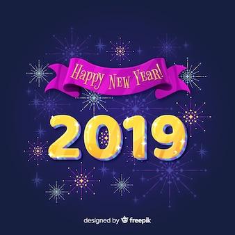 Flat new year 2019 background