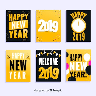 Flat new year 2019 cards set