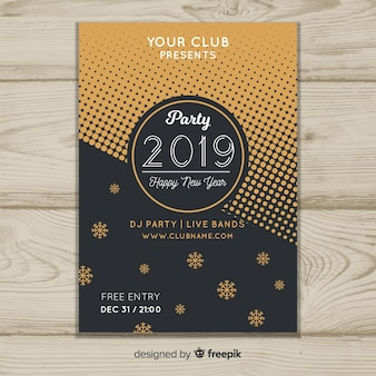flat new year 2019 flyer template