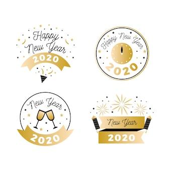 Flat new year 2020 badge set