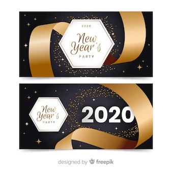 Flat new year 2020 party banners with big ribbon