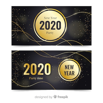 Flat new year 2020 party banners with golden sparkles