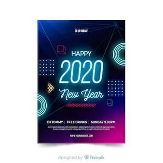 Flat new year 2020 party flyer template