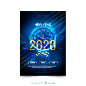 Flat new year 2020 party poster template