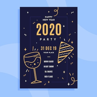 Flat new year 2020 poster